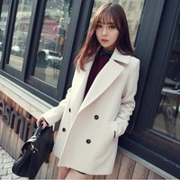 Outerwear 2014 autumn and winter medium-long plus size clothing cashmere overcoat double breasted woolen outerwear female