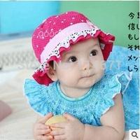 Free Shipping(10pcs/Lot) 2014 Baby New Hat Little Love Flower Polka Dot Lace Children Baby Basin Cap / Baby Sun Hat