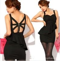 Fashion sexy racerback cross suspenders elegant slim dress one-piece dress