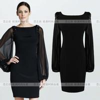 Autumn fashion women's ebay gauze long-sleeve slim one-piece dress dr for ess