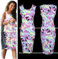 Fashion hot-selling elegant print slim sleeveless o-neck pencil  plus size floral print dress