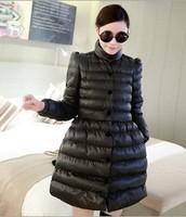 Free ShippingIn 2014 the new bow was thin long fluffy hem cotton padded coat jacket