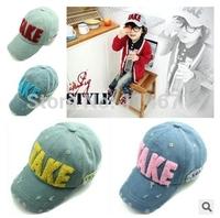 Free Shipping (5pcs/Lot) 2014 Children Baseball Cap Hat TAKE Denim Washed Baby Cowboy Hats Caps Baby Kids Baseball Caps