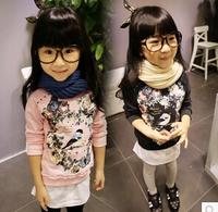 Free Shipping 1PC/Lot Brand New Girls T shirts, Pink Gray Long Sleeve Cotton Girls Clothing Kids Clothes Child Shirt Fashion