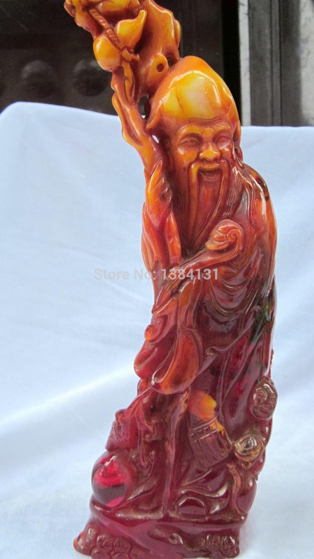 Oriental Vintage âmbar mão esculpido Immortal estátua(China (Mainland))