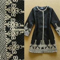 New Winter Fashion 2014 Women Exquisite Appliques Flower Patch Design Long Parka Jacket Down Coat Plus Size Parka Down Outerwear