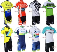 Free shipping! 2014 9-16 hot sale short sleeve cycling jersey bib shorts bike bicycle wear clothes jacket pants set+GEL pad