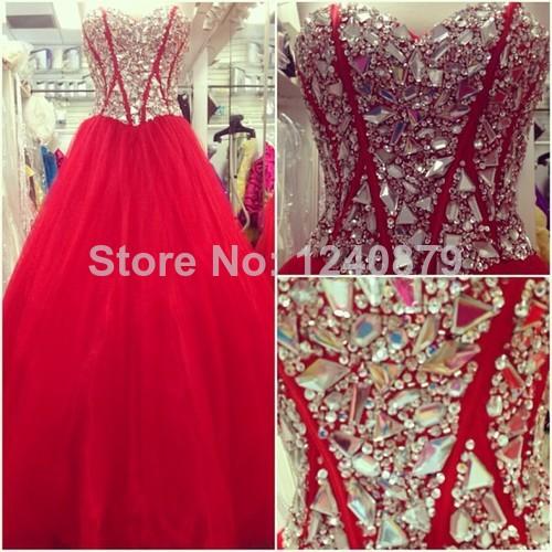 Sexy Designer querida Strapless EVM-0062 até o chão Red Ball vestido Prom Dresses 2014 vestidos vestidos de noite com pedras(China (Mainland))