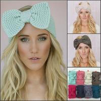 NEW Knitted Headband Wide Bow Ear Warmer handmade headwrap caps Women