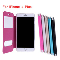 Fashion Dual Double View Window Slim Flip PU Leather Protective Phone Case with Stand for iPhone 6 Plus