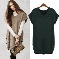 New 2014 Short Sleeve V-neck Loose Long Sweater Casual Dresses Autumn Winter Warm Womens Clothing Plus Size 5XL