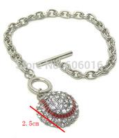 one piece fashion 2.5cm baseball charm enamel alloy sport pendant bracelet b4-1 free shipping