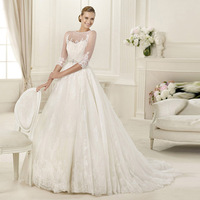 2015 New Arrive Charming High Quality Wedding Dress with Appliques and Beading Free Shipping Elegant Scalloped Wedding Dress
