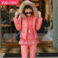 2014 winter fashion slim elegant trousers vest three piece set fur collar down thermal cotton-padded jacket