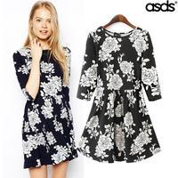 2014 winter new European and American fashion super beautiful temperament Printed Tunic Dress WQZ15327 bottoming