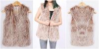 XXL Plus Size 2014 Winter warm Women's Faux-fur Coat Fox Fur Vest Luxury Sleeveless Slim Clothing Cheap price