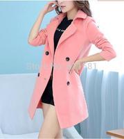 2014 women's autumn and winter woolen outerwear female loose medium-long sheep woolen overcoat slim trench female