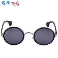Fashion vintage big circle sun glasses fashion female mirror male sunglasses prince's mirror