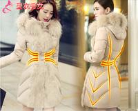 2014 cotton-padded jacket large fur collar high quality slim medium-long fur female down coat outerwear