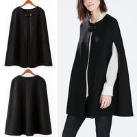 Winter Bloggers Street Fashion Women's Black Cape Trench Coat Outerwear Windbreaker Tops