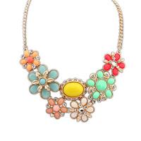 European and American bohemian gem flower necklace female Korean fashion sweet fresh sweater chain clavicle short paragraph