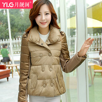 Trend personality 2014 patchwork long-sleeve thermal fashion stand collar double breasted down cotton-padded jacket women's