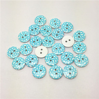 Free Shipping 100pcs 15mm Blue Flowers Painted Wooden Buttons Craft Scrapbook Sewing Cardmaking