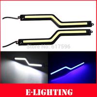 2 PCS  Z Shap Auto Car COB 6W Daytime Running Light 12V LED DRL Fog Lamp Bulb White/Crystal Blue