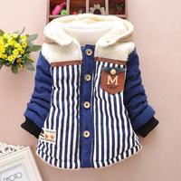 4pc/lot new boys coats winter thicken kids clothes stripe children jackets hooded fleece baby factory panya jll08