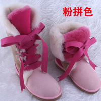 Wholesale!New Fashion lace up suede snow boots for women bootlace real sheepskin leather wool fur winter shoes for lady flat