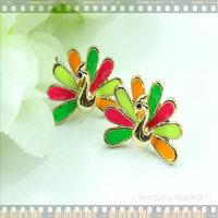 11.11 jewelryRuili wind beautifully minimalist color Peacock stud earrings DY