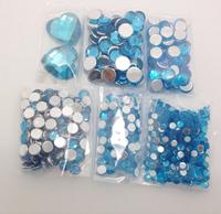 Set of 600pcs Mix Size BLUE Rhinestones DIY Case iPhone Phone Scrapbook Card