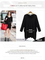 2014 Autumn irregular hem Batwing sleeve loose t-shirt fashion plus size V-neck T-shirt and long sections bottoming shirt