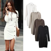 Plus Size XXL 2014 Vestidos Women Dress long Sleeve Buttons Ladies Winter Dress Slim Hip Mini Bodycon Dresses Casual Work Wear