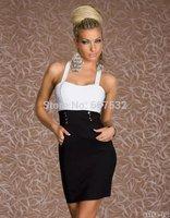 Autumn 2014 Sexy Black & White Clubwear Dance Party Office Dress Women Zipper Dresses Navy Girl Sailor Costume Tight Dress