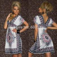 M  L XL XXL Plus Size 2014 New Fashion Women Deep V Neck Retro 1960s 1970s Vintage Paisley Printed Loose Summer Casual Dress