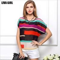 Free Shipping 2014 Newest Hot S-XXXL Casual Colorful Womens Chiffon T-shirts Fashion Summer Autumn Ladies Girls Tops Tees Shirts