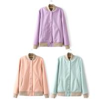 2014 Trendy Candy Color Wool Blend Baseball Track Jacket Coat Sweatshirt Outwear
