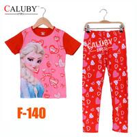 Girls Elsa Princess Pajamas Sets Big Kids Autumn -Summer Clothing Set New 2014 Wholesale 8-12Y Frozen Pyjamas F-140
