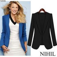 2014 new spring blue blazer suits women foldable brand jacket fashion ladies clothing tops single button shawl cardigan Coat