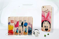 cartoon Mickey minnie golden metal phone case ultrathin mobile Phone Case Cover For Iphone 6 plus 5.5 inch free shipping