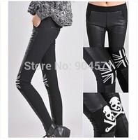 New Winter 2014 Women Fashion PU Leather Leggings Patchwork Thicken Fleece Casual Slim Trousers Black