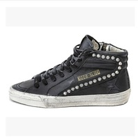 High END CUSTOM luxury Italy Golden goose gg for db black Retro rivets handmade shoes fashion shoes