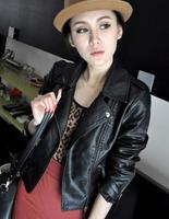 2014-2015 autumn motorcycle PU clothing women's jacket plus size short design epaulette slim small suit
