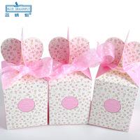 60pcs/lot PG1405 Fresh Pink Candy Gift Box Folding Box on Christmas Eve Fruit Box Wholesale