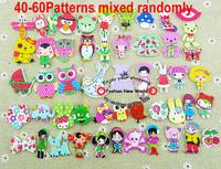 Free Shipping 500pcs Mixed 2 Holes pattern cartoons Wood Sewing Buttons Scrapbooking WCF-301-2