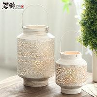 Free Shipping!Classic Round Shape Iron Lantern Chinese Vintage Style Metal Candle Holder House Decor  Small Size