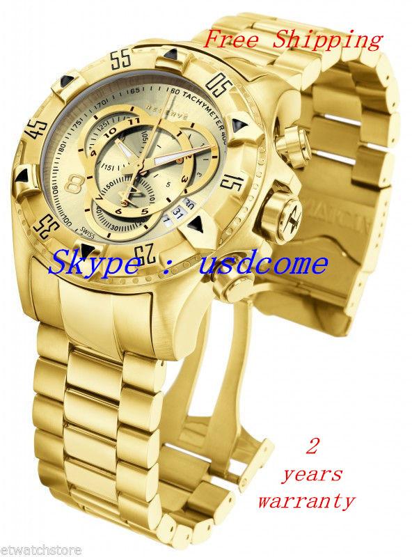 Free Shipping New 6471 Reserve Excursion Chrono Gold Tone Mens Watch 200 M Original Box(China (Mainland))