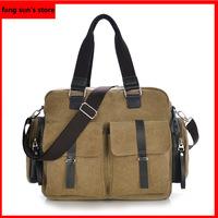 2014 new Korean version of the retro canvas bag casual leather belt decorated multi-pocket shoulder bag handbag diagonal package