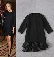 Best Grade New Celebrity Inspired Fashion Women Organza Silk Flower Patchwork Black White Color Autumn Winter Dress Freeship